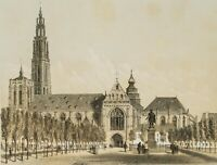 CANELLE, Place Verte Anvers, Groenplaats, Rubensdenkmal 19. Jh, Tonlithographie