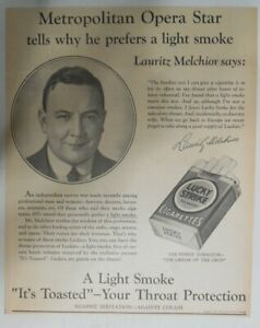 Lucky Strike Ad: Opera Singer Lauritz  Melchior from 1937 Size: 10 x 12 inches