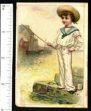 2 SIDED 1880s VICTORIAN ADVERTISING TRADE CARD SALOR BOY FISHES DETROIT SOAP