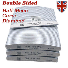 NAIL FILES PRO™ HALF MOON/CURVED/DIAMOND GRIT 100/100, 100/180 EXQUISITE RANGE