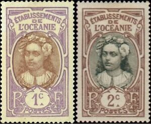 EBS French Oceania (Tahiti) 1913 Tahitienne Type Lemasson OC 21-22 MNH**