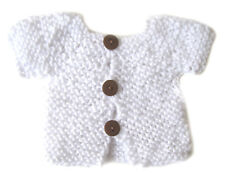 New Kss Handmade White Acrylic Short Sleeve Baby Cardigan (Newborn) Sw-259 Sale