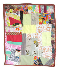 Handmade Baby Quilt with Brown Bias