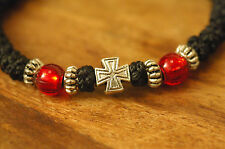 Orthodox Chotki Bracelet Prayer Rope Komboskini Metal Cross Red Beads Mt Athos