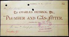 1901 LAWRENCE LONG ISLAND NY CHARLES HETRICK PLUMBER GAS FITTER JOE PORTER