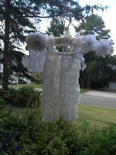 SMALL BABY GIRL WHITE LACY ROMPER WITH HEADBAND, BAREFOOT SANDALS AND PEARLS