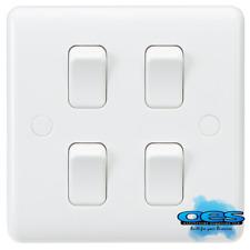 Knightsbridge Cu4101 Curved Edge 10amp 4 Gang 2 Way Switch on Single Plate White