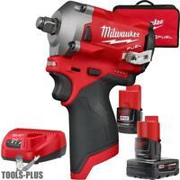 "Milwaukee 2555-22 M12 FUEL 1/2"" Stubby Impact Wrench Kit New"
