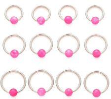 New Pink Rose Quartz BCR Captive Bead Ring Tragus Cartilage Lip Hoop 16g