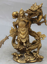 Chinese Fengshui brass Guan Gong Yu Warrior God Sword Stand in Dragon Statue