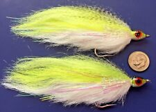 (2) Large Chartreuse Baitfish Flies. Fly Fishing Saltwater, Pike, Musky. bf8