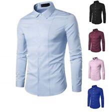 Mens Casual Formal Shirts Slim Fit Shirt Top Long Sleeve M L XL XXL PS29