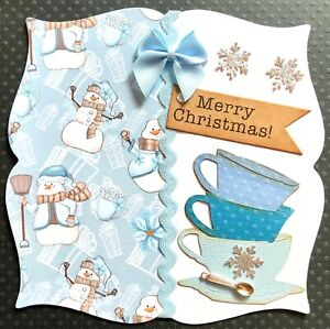 Handmade By Susie Snowmen Cups & Spoon Christmas Card Topper FLAT RATE UK P&P