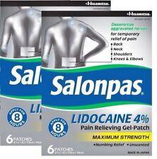 Salonpas Lidocaine 4% Pain Relieving Maximum Strength Gel-Patch 6ct -2 Pack