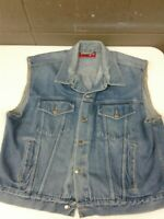 Vintage Mens Wrangler Hero Cotton Denim Blue Jean Jacket Vest (h100)