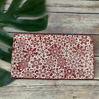 Hallmark Snowflake Print Rectangular Dish Plate Red White Trinket Tray Christmas