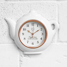 Teapot Shaped White & Copper Modern Kitchen Wall Clock Novelty Gift Accessories