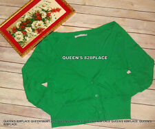 Old Navy Women's Size L Large Green Knit Cardigan 3/4 Sleeve Top Cotton Summer
