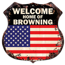 BPWU-0732 WELCOME HOME OF BROWNING Family Name Shield Chic Sign Home Decor