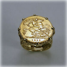 More details for 9ct gold coin ring with george v 1915 half sovereign