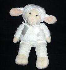 "15"" Mary Meyer White Lamb Sheep Plush Dimples Minky Dot Stuffed Animal Lovey"