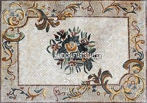 4'x2' White Marble Dining Kitchen Table Top Patio Decor Marquetry Fine Art H3290