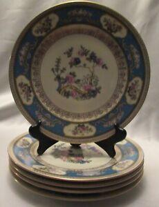 Five Bavarian H.P. Dinner Plates Oriental Tree Design & Floral Medallions Gilded