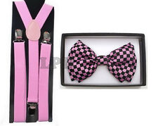 NEW Awesome Black & Pink CHECKER Board Adjustable Bow tie & Pink Suspender Set