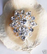 """10 1-1/4"""" Fancy Rhinestone Crystal Silver Button Buckle"""