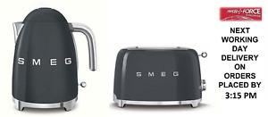 SMEG Grey Retro Kettle & 2 Slice Toaster - KLF03GRUK & TSF01GRUK + 2 Yr Warranty