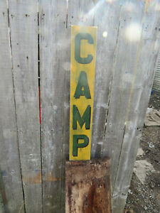 VINTAGE LOOK CAMP WOOD SIGN, VERTICAL, CUSTOM COLORS AVAILABLE