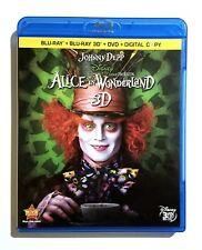 Alice In Wonderland (2010) Like New Blu-ray 3D + Blu-ray + DVD Disney