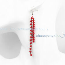Wedding Party Gifts 4mm Red Coral Long Beaded Dangle Silver Hook Earrings AA