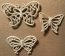 Homco Home Interiors Three Butterflies White Wicker Look Vintage Chic Wall Decor
