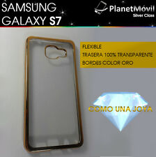 COVER GOLDEN SAMSUNG GALAXY S7 G930F IN SILICONE TRANSPARENT EDGES GOLDEN