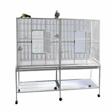 "A&E Cage Co. 6421 White Double Flight Cage with Divider, Large/64"" x 21"""
