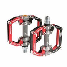 "RockBros MTB Flat Pedals Aluminum Alloy Platform Sealed Bearing Black Red 9/16"""