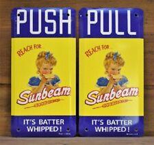 Vintage Style Sunbeam Bread Push Pull Plates 2pc Set  3
