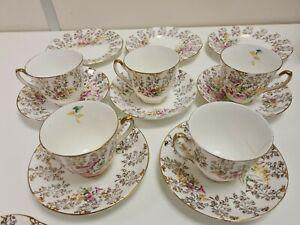 Vintage Fine Bone China Tea Set - 22kt Gold - Floral Pattern