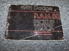 1981 Dodge Ram 50 Truck Original Owner Owner's Operator User Guide Manual