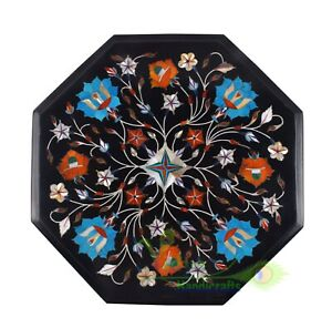 """12"""" Black Marble Coffee Table Turquoise Stone Inlay Art Floral Mosaic Home Decor"""