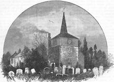 LONDON. Thames Ditton Church. Surrey 1888 old antique vintage print picture