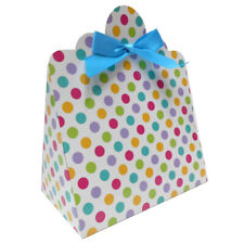 SPOTTY GIFT BOXES & Blue Bows for Sweets, Easter, Baby Shower Gift Hamper (pk10)