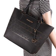 NWT Michael Kors Jet Set Travel Medium Carryall Tote Bag - Leather Black Gold