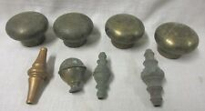 SET OF 4 BRASS BED MUSHROOM CAPS/KNOBS AND OTHER PIECES