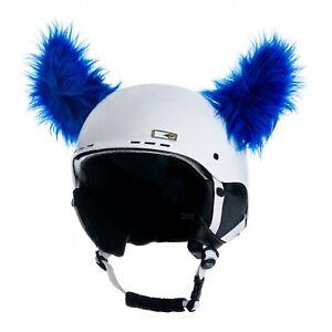Helmohren für Skihelm wuschelige Hörner für Ski Helm Helmet Blau Blue Fury Horns