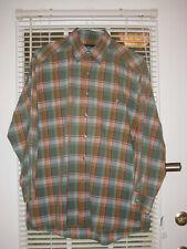 vtg Willis & Geiger sz L green plaid long sleeve button front shirt 100% cotton