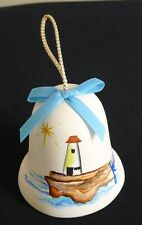 Hand Painted Sandstone Creations Bell signed Anna Lighthouse