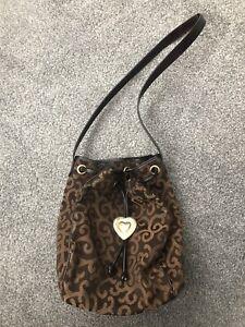 YSL Vintage Brown Bucket Bag Purse Gold Heart