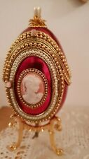 Faberge Russian style Real egg 24k Gold Musical Collector Photo frame Handmade